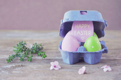 Пасхальные яйца Праздники пасхи Карточка винтажная счастливая пасха Винтаж Стоковые Изображения