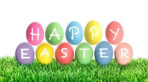 Пасхальные яйца СЧАСТЛИВАЯ ПАСХА Украшение праздников Стоковое фото RF