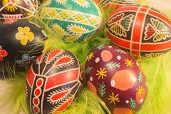 Пасхальные яйца с изображением Стоковое Изображение