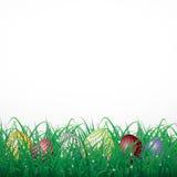 Пасхальные яйца с кругами в траве на белой сияющей предпосылке стоковые изображения rf