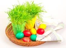 Пасхальные яйца с травой и полотенцем Стоковые Изображения RF