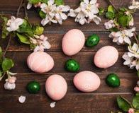 Пасхальные яйца с цветением весны цветут на деревенском деревянном backgro Стоковая Фотография