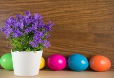 Пасхальные яйца с цветками весны Стоковое Изображение