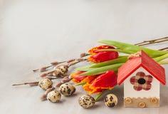 Пасхальные яйца с цветками birdhouse и весны Стоковое Фото