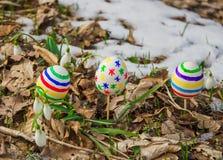 Пасхальные яйца с snowdrops Стоковая Фотография RF