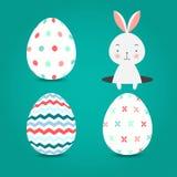 Пасхальные яйца установили собрание и зайчика на предпосылке бирюзы, иллюстрации вектора Стоковые Изображения RF