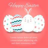 Пасхальные яйца установили собрание и зайчика на розовой предпосылке, иллюстрации вектора Стоковая Фотография RF