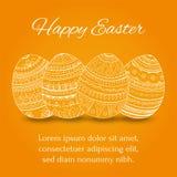 Пасхальные яйца установили собрание на оранжевой предпосылке, иллюстрации вектора Стоковая Фотография RF