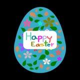 Пасхальные яйца, цветок картины, поздравительная открытка пасхи шаблона Стоковое Изображение