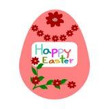 Пасхальные яйца, цветок картины, поздравительная открытка пасхи шаблона Стоковые Изображения