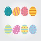 Пасхальные яйца Vector стиль значков иллюстрации плоский для украшения поздравительной открытки Красочные пасхальные яйца на праз Стоковое Фото