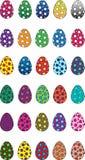 Пасхальные яйца vector точка польки значков и плоский стиль Стоковая Фотография