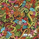 Пасха doodles картина вектора безшовная Стоковые Изображения RF