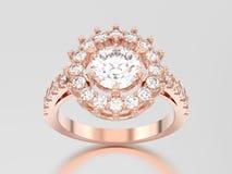 пасьянса золота иллюстрации 3D кольцо с бриллиантом розового декоративное с Стоковые Изображения