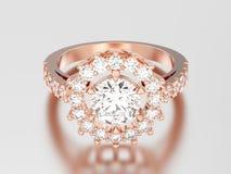 пасьянса золота иллюстрации 3D кольцо с бриллиантом розового декоративное с Стоковое Изображение RF