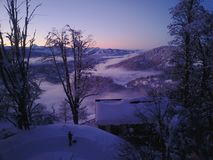 Патагония захода солнца Snowy стоковые фото