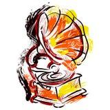 патефон Нарисованный рукой стиль искусства grunge вектор иллюстрации ретро Стоковое фото RF