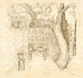 Патио лета солнечное в ручке стиля doodle искусства Стоковые Фотографии RF