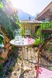 Патио дома Майорки балеарское в Балеарских островах Стоковое фото RF