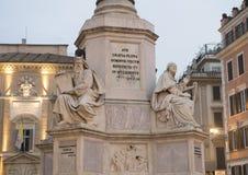 Патриарх Моисей Jacometti и король Дэвид Tadolini на основании столбца непорочного зачатия, Рима Стоковое Изображение