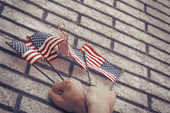 Патриотизм американских флагов Стоковое фото RF