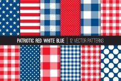 Патриотические красные белые голубые безшовные картины вектора Стоковые Фотографии RF