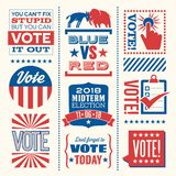 Патриотические элементы и мотивационные сообщения для того чтобы ободрить голосование иллюстрация штока