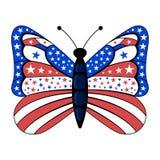 Патриотический американский флаг красит бабочку иллюстрация вектора
