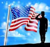 Патриотический дизайн салюта солдата американского флага бесплатная иллюстрация