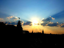 Патриотический заход солнца Стоковые Фото
