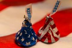 2 патриотических поцелуя шоколада Стоковые Изображения RF