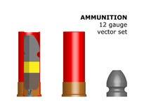 патрон 12 калибров на белой предпосылке Стоковое Изображение RF