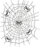 Пауки в сети иллюстрация вектора