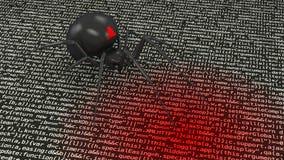 Паук хакера заражая концепцию cybersecurity состава команд вычислительной машины иллюстрация штока