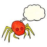 паук черепа хеллоуина шаржа пугающий с пузырем мысли Стоковое Изображение