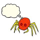 паук черепа хеллоуина шаржа пугающий с пузырем мысли Стоковое фото RF