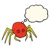 паук черепа хеллоуина шаржа пугающий с пузырем мысли Стоковые Изображения