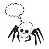 паук черепа хеллоуина шаржа пугающий с пузырем мысли Стоковая Фотография RF