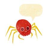 паук черепа хеллоуина шаржа пугающий с пузырем речи Стоковые Фото