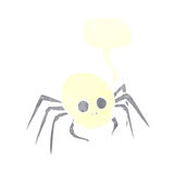 паук черепа хеллоуина шаржа пугающий с пузырем речи Стоковые Фотографии RF
