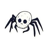 паук черепа хеллоуина шуточного шаржа пугающий Стоковое Изображение