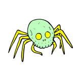 паук черепа хеллоуина шуточного шаржа пугающий Стоковые Фото