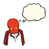 паук черепа шаржа пугающий с пузырем мысли Стоковая Фотография RF