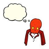 паук черепа шаржа пугающий с пузырем мысли Стоковое фото RF