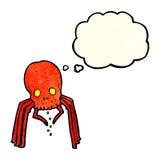 паук черепа шаржа пугающий с пузырем мысли Стоковые Фото