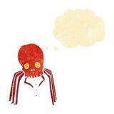 паук черепа шаржа пугающий с пузырем мысли Стоковые Фотографии RF