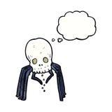 паук черепа шаржа пугающий с пузырем мысли Стоковое Изображение