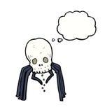 паук черепа шаржа пугающий с пузырем мысли Стоковое Фото