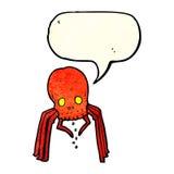 паук черепа шаржа пугающий с пузырем речи Стоковое Изображение