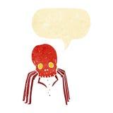 паук черепа шаржа пугающий с пузырем речи Стоковые Фотографии RF